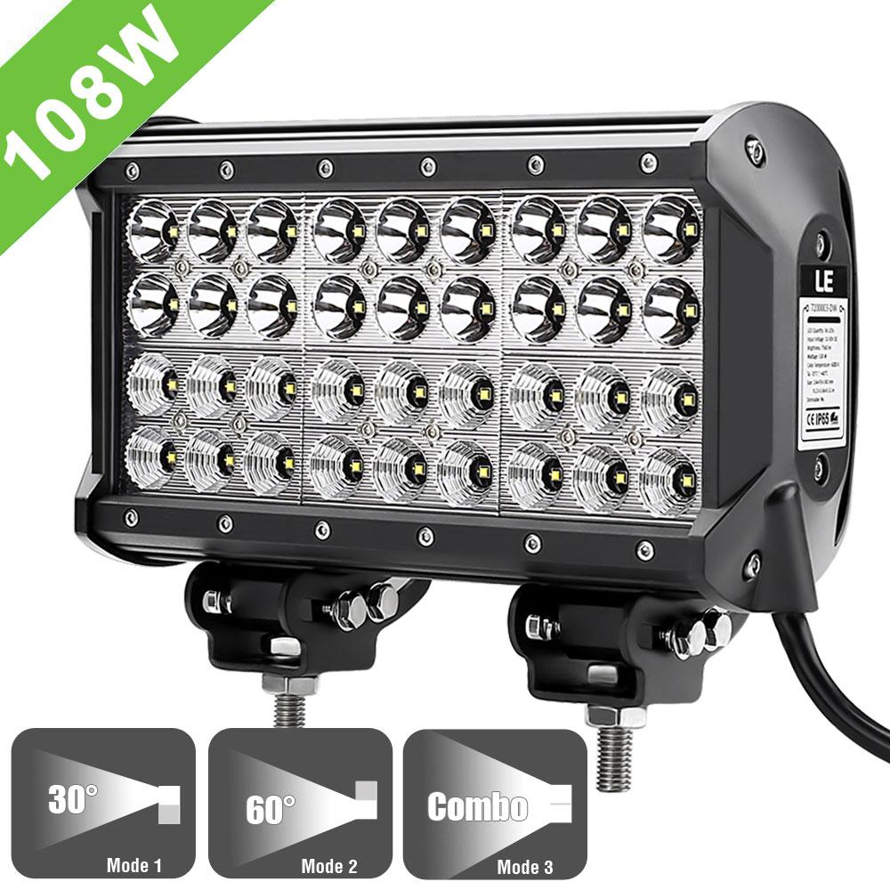 108W LED Tagfahrlicht nachrüsten, 7560lm CREE Offroad zusatzscheinwerfer, Spot Flutlicht 30-60 Grad