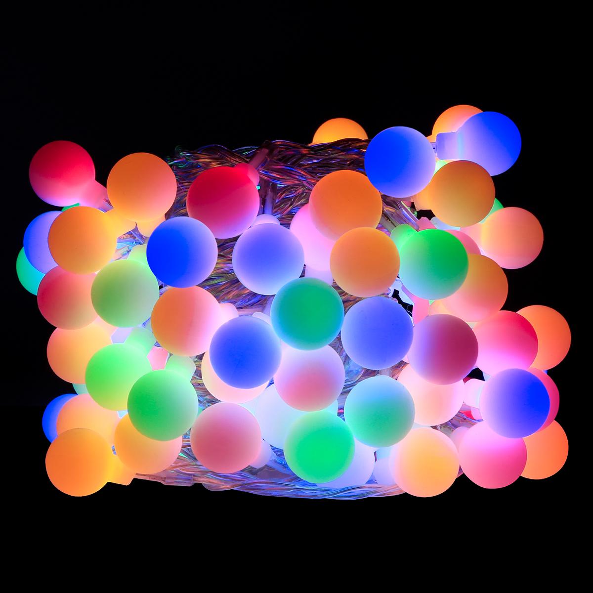 100er LED Kugel Lichterkette, 10M Mehrfarbig, 8 Modi mit Memory-Funktion, Innen/ Au?en Party Weihnachten Dekolampe, RGB