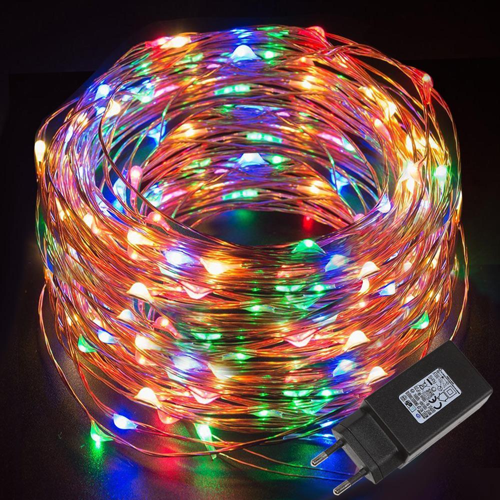 10M LED RGB Kupferdraht Lichterkette, 100er LEDs, Wasserdicht Sternen Lichterketten, Außen / Innen Weihnachtsdekor