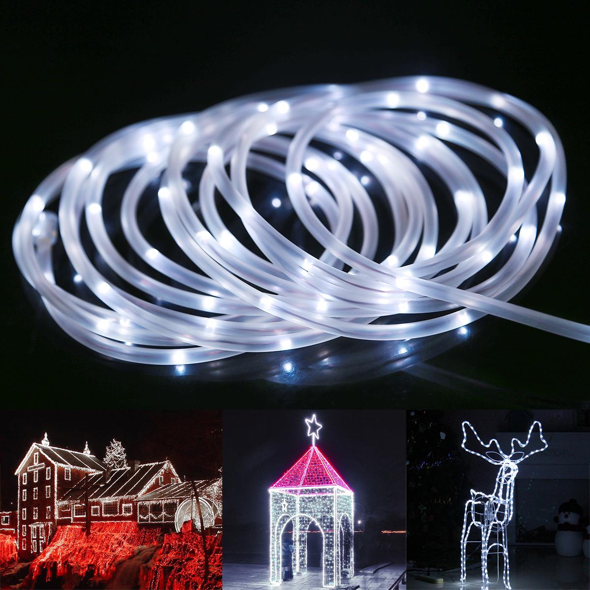 LED Lichterschlauch, 10M 120er LEDs, Kaltweiß, 8 Modi mit Memory-Funktion, Innen/ Außen Party Weihnachten Dekolicht