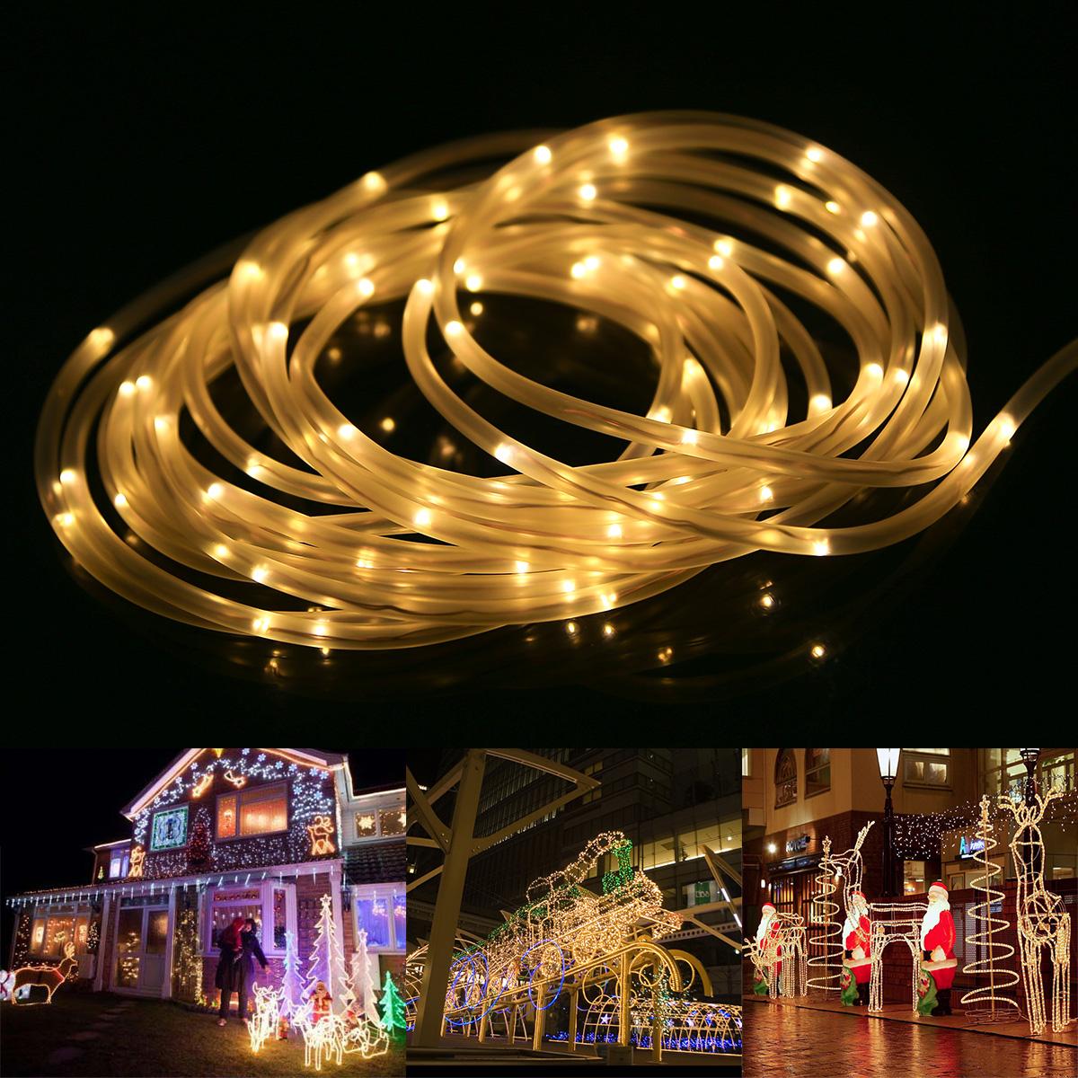 LED Lichterschlauch, 10M 120er LEDs, Warmweiß, 8 Modi mit Memory-Funktion für Innen/ Außen Party Weihnachten Dekolicht