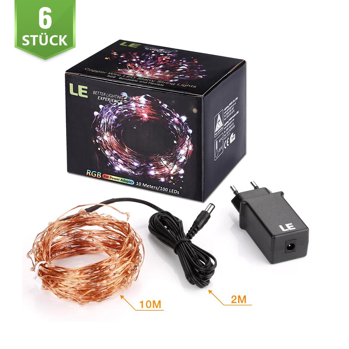 [Bündel] 10M LED RGB Kupferdraht Lichterkette, 100er LEDs, Wasserdicht Sternen Lichterketten, Außen/ Innen Weihnachtsdekor, 6er Set