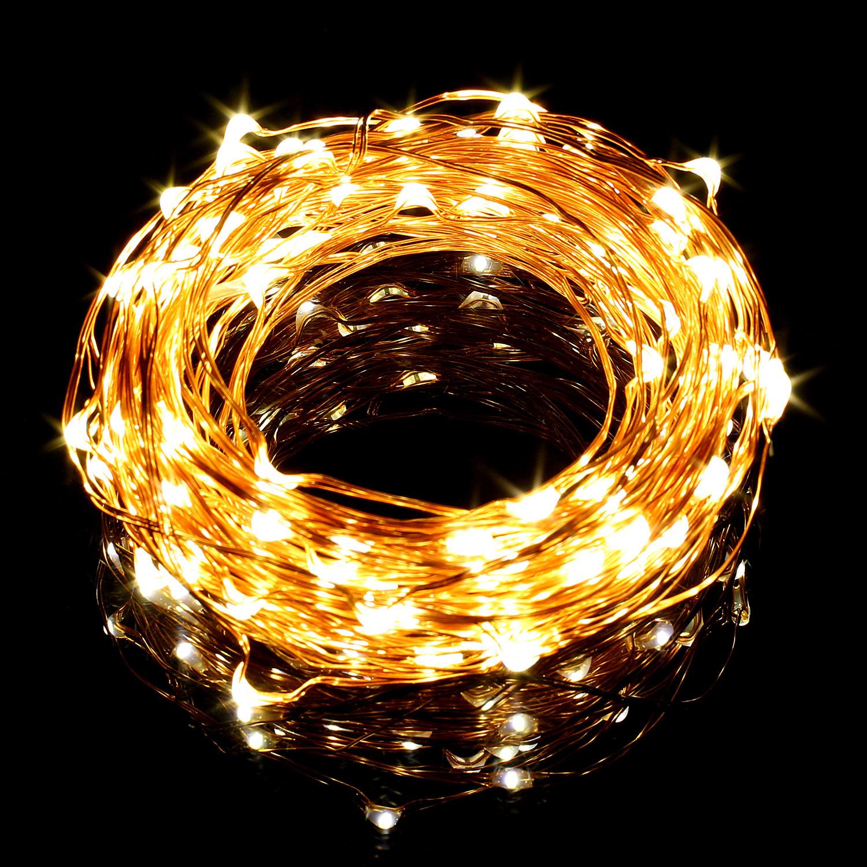 10M LED Kupferdraht Lichterkette, 100 LEDs, Wasserdicht Sternen Lichterketten, Warmweiß, Weihnachtsdeko für Außen / Innen