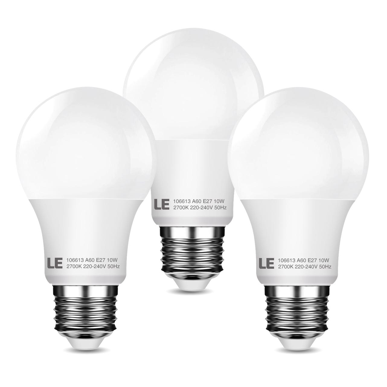 10W A60 E27 LED Lampen, Ersatz für 60W Glühbirne, 240° Abstrahlwinkel, 800lm, Warmwei? 2700K, LED Birnen, 3er Pack