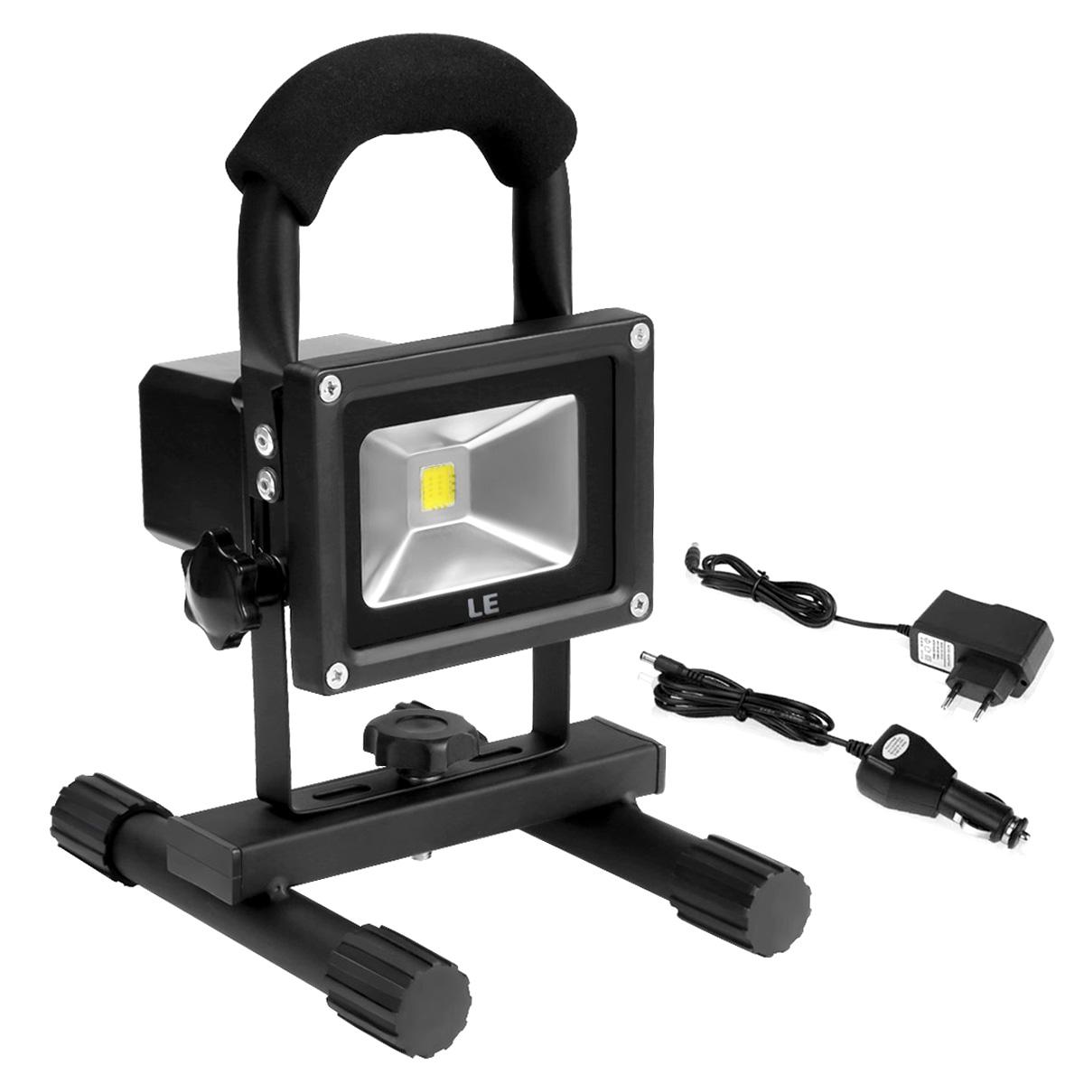 10W LED Baustrahler mit Akku, Tragbar Arbeitsleuchte, 700lm, Entspricht 100W Halogenlampe, Wasserdicht