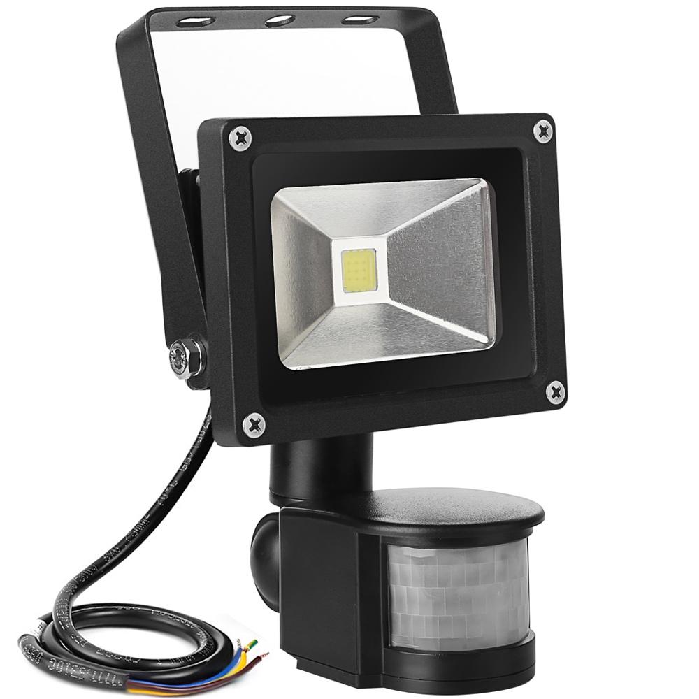 10W LED Strahler mit Bewegungsmelder, 700lm Wandstrahler, Wasserdicht IP65, entspricht 100W Halogen Lampe, Kaltweiß
