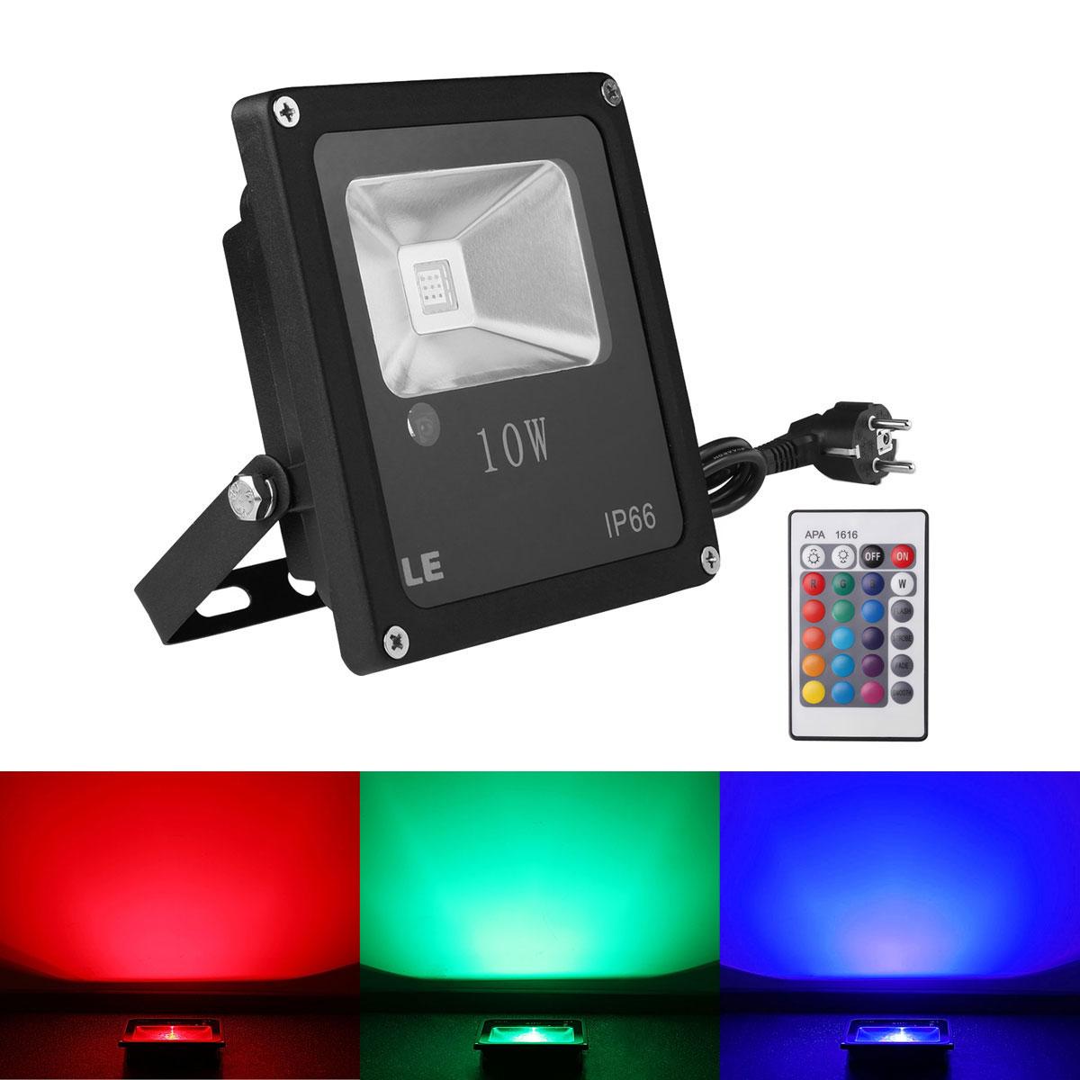 10W LED Außenstrahler RGB, fernbedient Flutlicht, 16 Farben & 4 Modi, Wasserdicht, Memory Funktion, Scheinwerfer