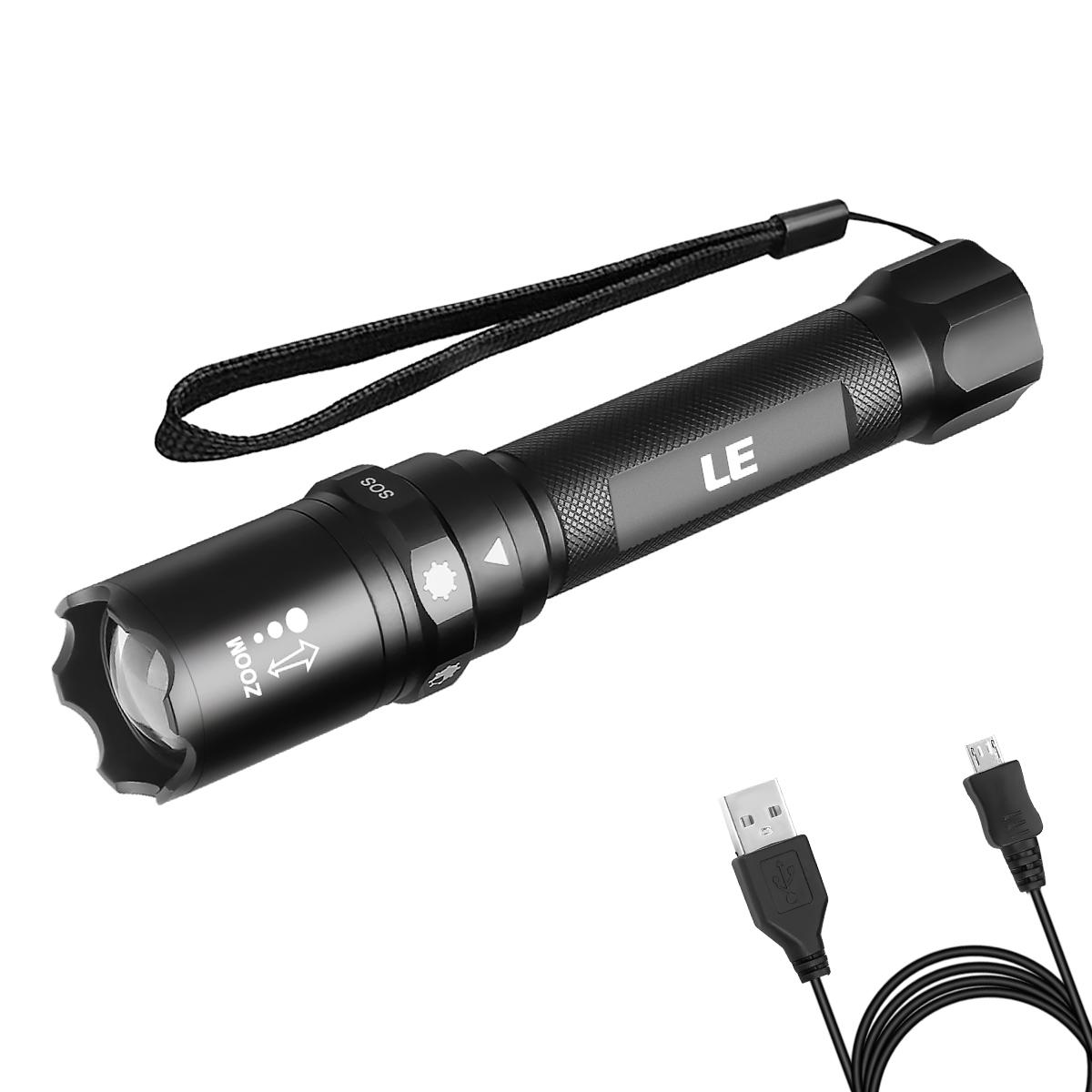 10W LED Taschenlampe, 500lm 6 Lichtmodi, USB aufladbar, einstellbaren Fokus, Inklusive 18650 Batterie, IP65 wasserdicht Camping Lampe, LED Zoombare Handlampen