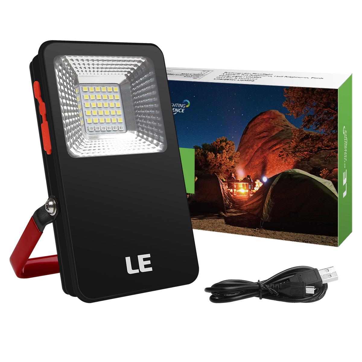 10W Mini LED Fluter, 3Modi USB Aufladbar, 700lm Wasserdicht Kaltweiß Powerbank, tragbar Campinglampe mit Alarm Flash Modus