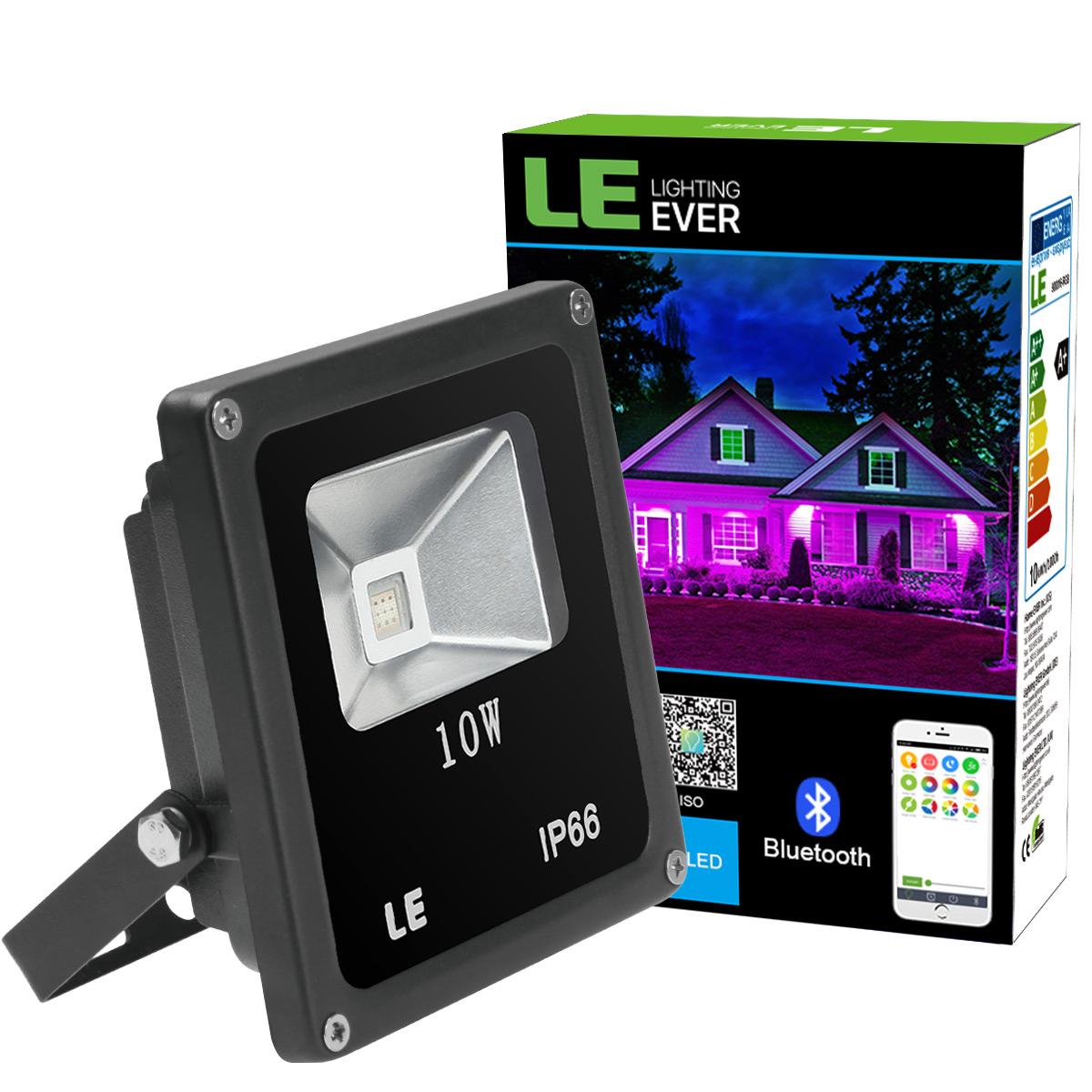 10W RGB LED Fluter, Mehrfarbiger Smart Bluetooth LED Scheinwerfer, Dimmbar, Farbwechsel, wasserdichter Flutlicht, Partylampe