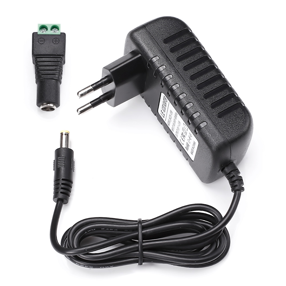 12V DC Netzteil Adapter, 2A Max. 24W, 100-240V zu 12V Transformator,  für 12V 3528/5050 LED Stripe