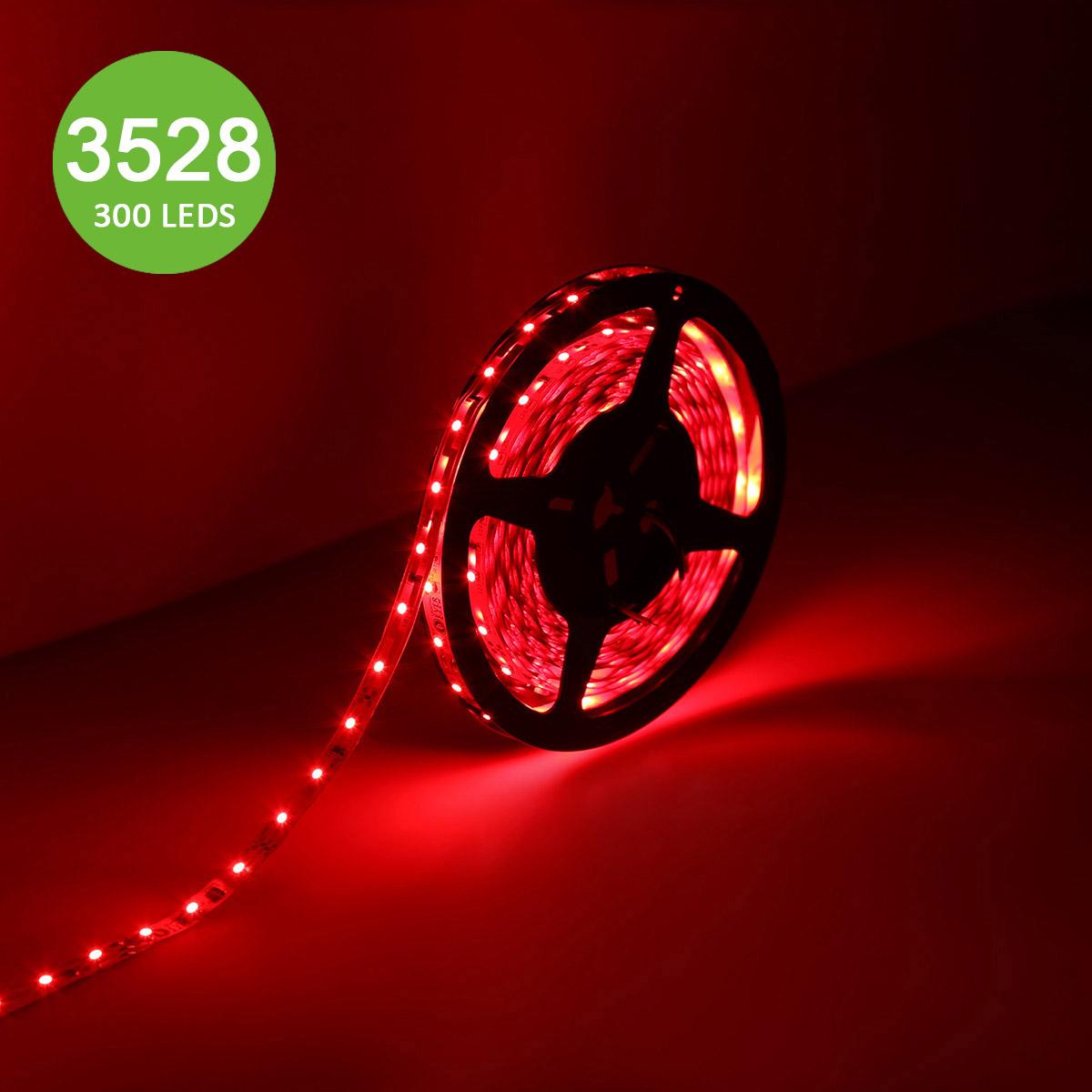 12V LED Leuchtband, Dimmbar, 300 Stück 3528 SMD Streifen, Rot, Non-Wasserdicht, 5M, Indirekte Beleuchtung