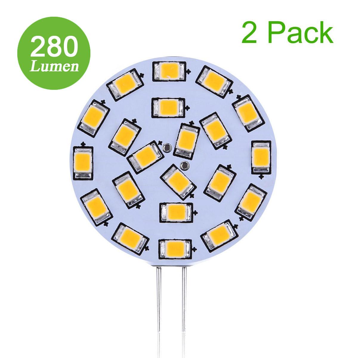 3W G4 LED Stiftsockellampe mit 21 LEDs, 12V 280lm Bi-Pin Disc Lampe, ersetzt 40W Halogenlampe, Warmweiß