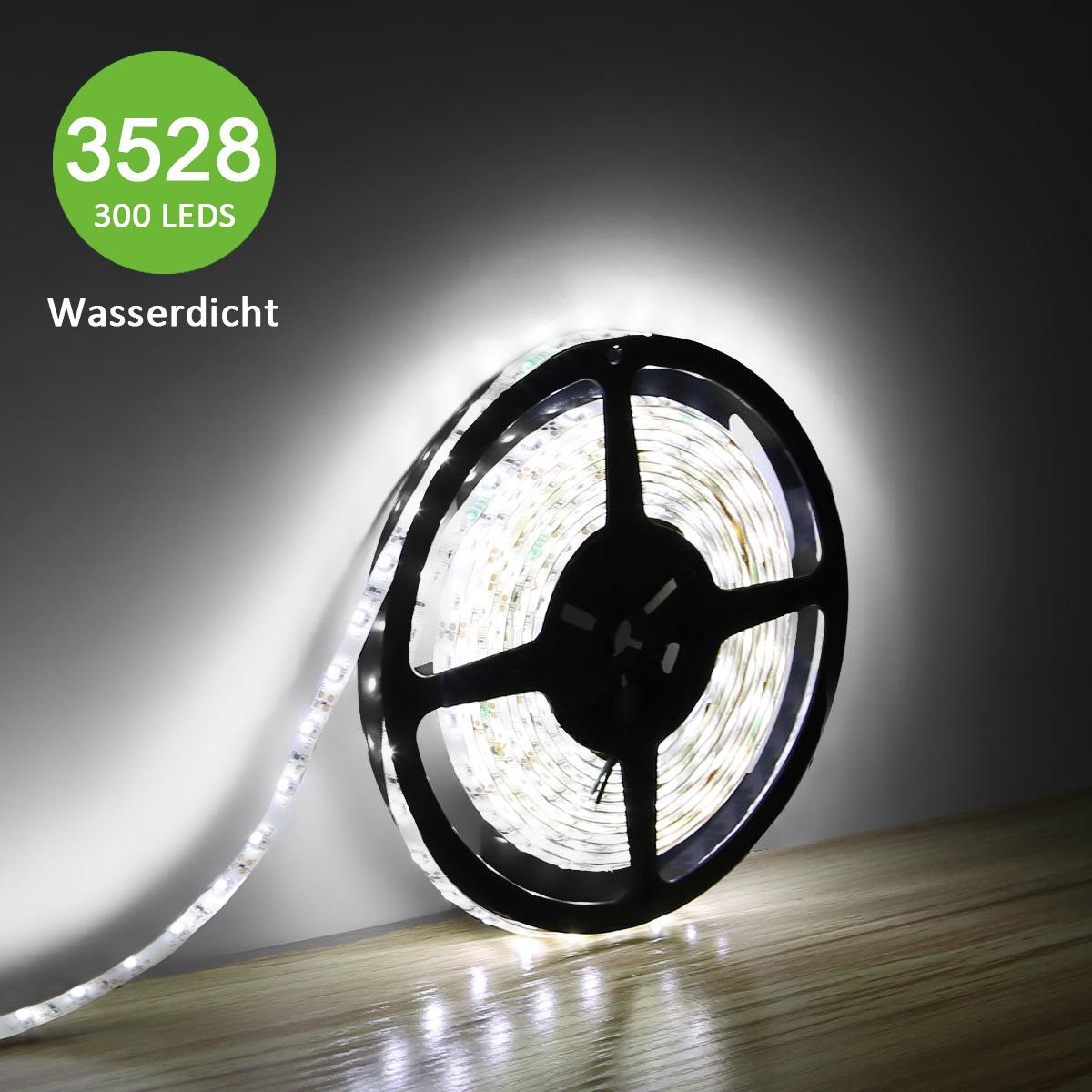 12V LED Leisten, Dimmbar Wasserfest, 300 Stück 3528 SMD, Kaltweiß, 5M, Außen Indirekte Beleuchtung