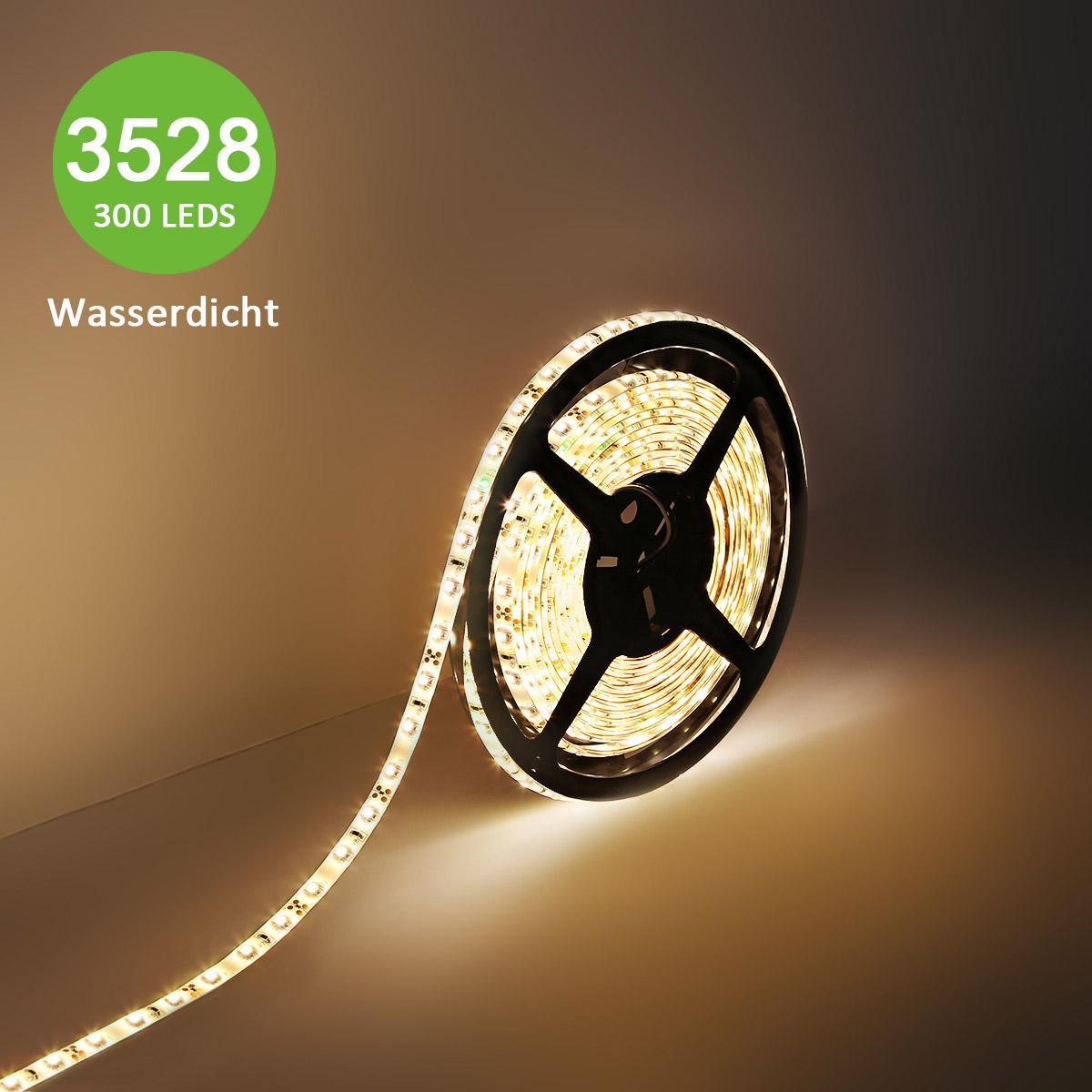12V LED Lichtband, Dimmbar 300lm/Meter, Wasserfest, 3528 SMD LED Leiste, Warmweiß, 5M Indirekte Beleuchtung