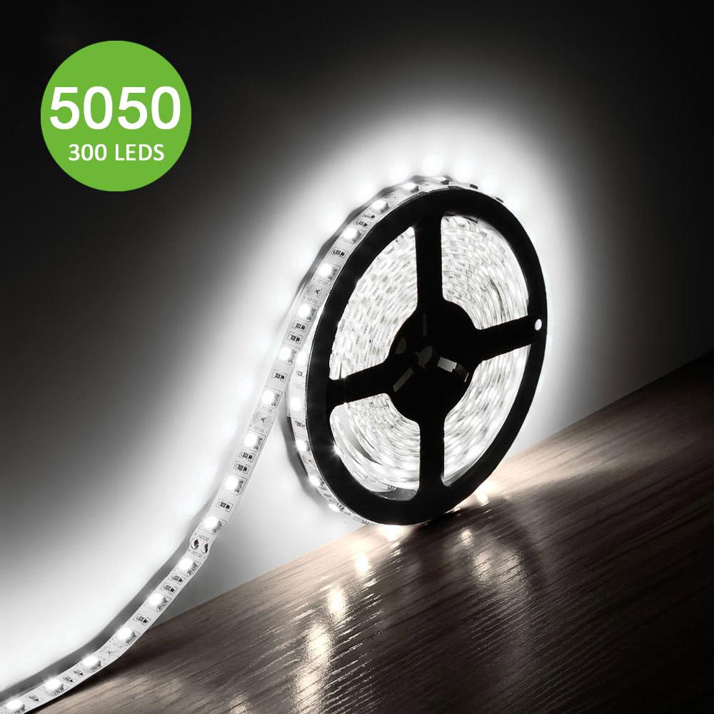12V LED Strips, 720 lm/Meter, Kaltweiß, Superhell 300 Stück 5050 SMD, non-wasserdicht, 5M