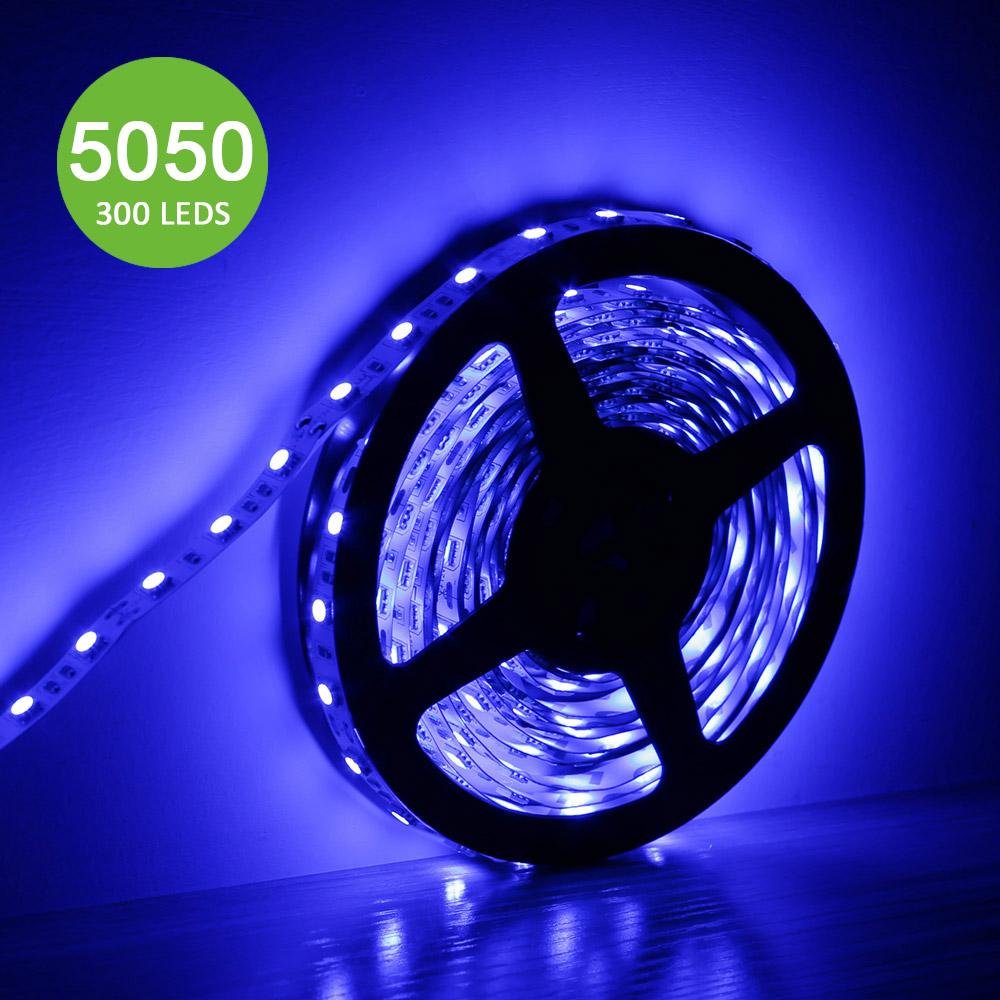 12V LED Strips, Blau, Superhell 300 Stück 5050 SMD, non-wasserdicht, 5M
