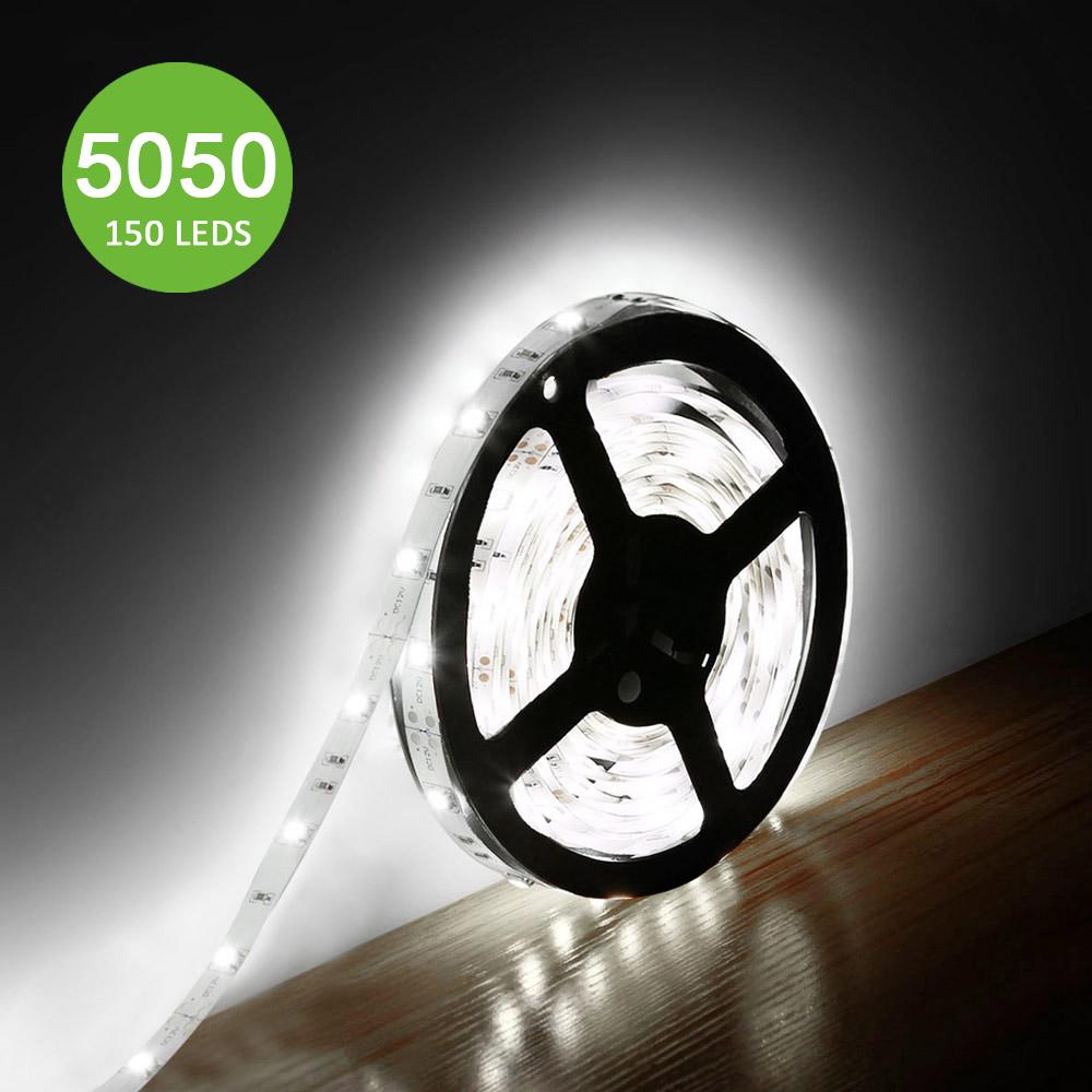 12V LED Strips, 360 lm/Meter, Kaltweiß, 150 Stück 5050 SMD, Non-wasserdicht, 5M