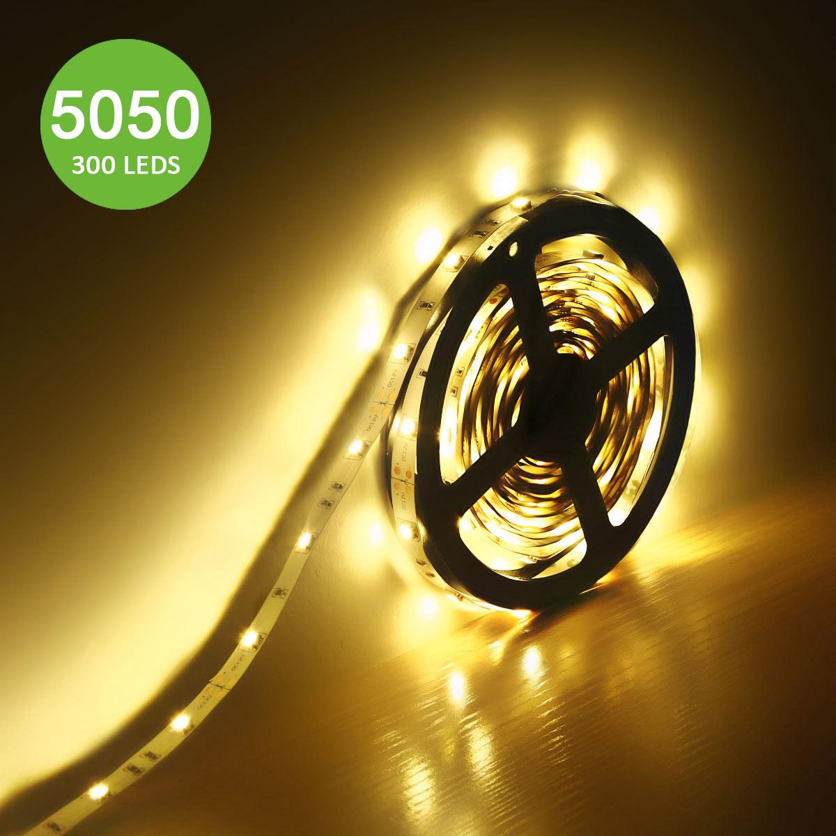 12V LED Strips, Dimmbar 360 lm/Meter, Warmweiß, 150 Stück 5050 SMD, Non-wasserdicht, 5M