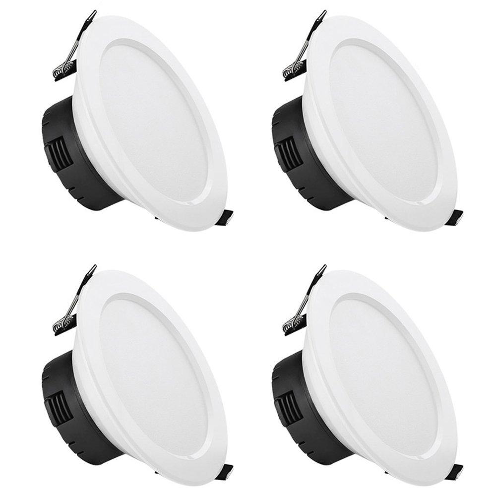 12W LED Einbaustrahler, 750lm Einbauleuchten, 110mm, entspricht 25W Leuchtstofflampe, Warmweiß, 4er Set