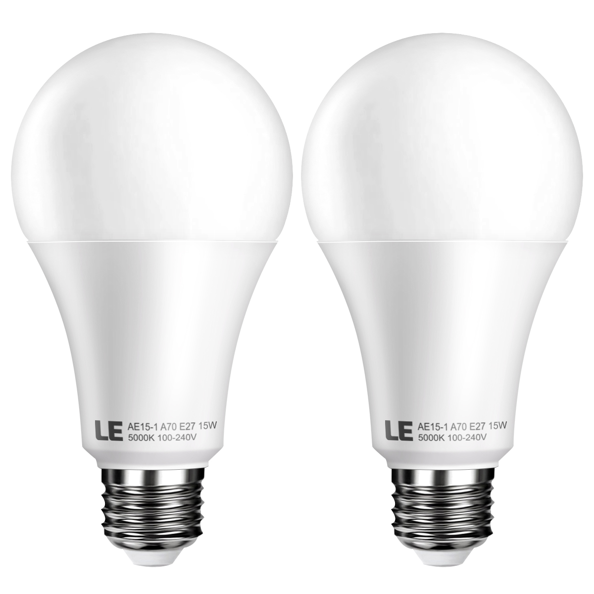 Superhelle 15W A70 E27 LED Lampen, Ersatz für 100W Glühbirne, 200° Abstrahlwinkel, 1500lm, Kaltwei? 5000K, LED Birnen, 2er Pack