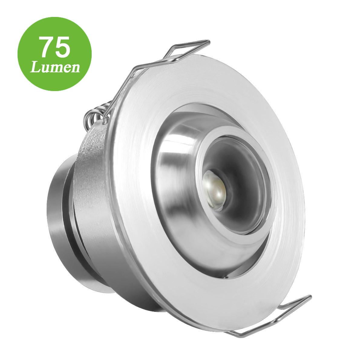 1W LED Einbauspots, 12V 75lm LED Downlight, Ersatz für 10W Halogenlampe, Kaltweiß