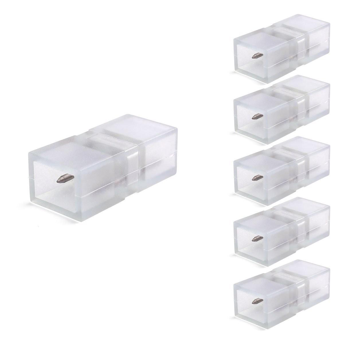 2-pin Stecker/Verbinder für 5050 LED einfarbige 230V Streifen, 14mm Breite , 5er