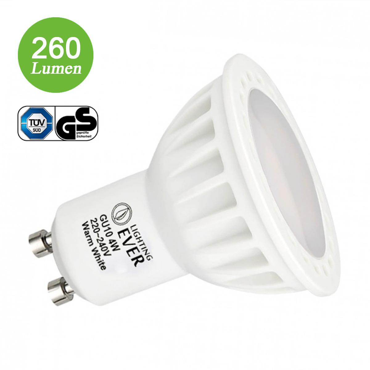 4W MR16 GU10 Fassung, 260lm LED Strahler, Warmweiß, Ersatz für 40W Halogenlampe