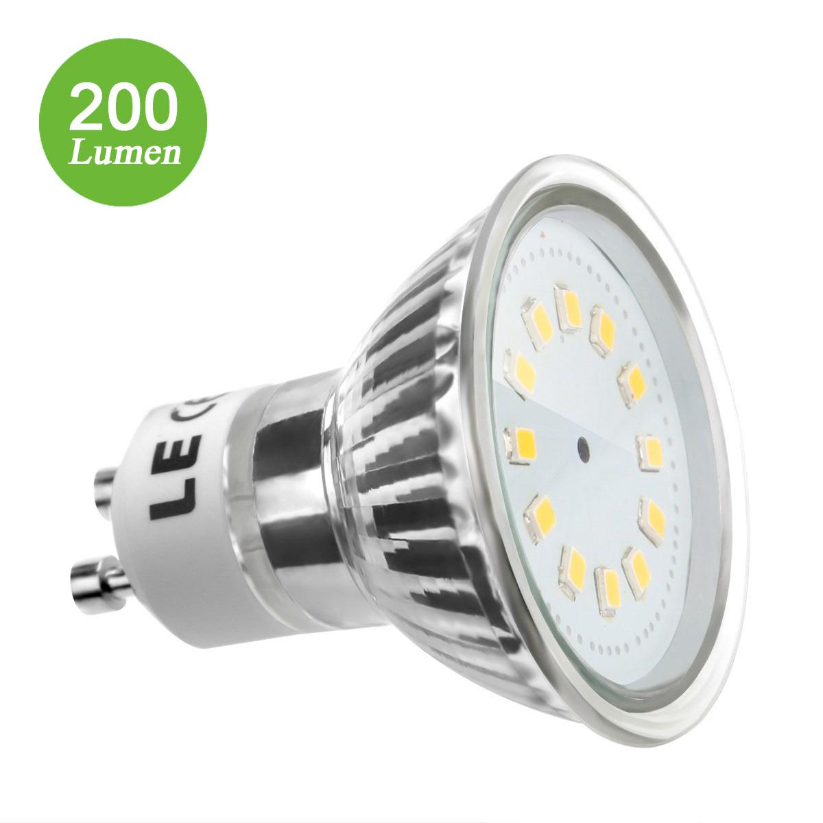 2,5W GU10 Fassung, MR16 200lm LED Strahler, Ersatz für 35W Halogenlampe, Warmweiß