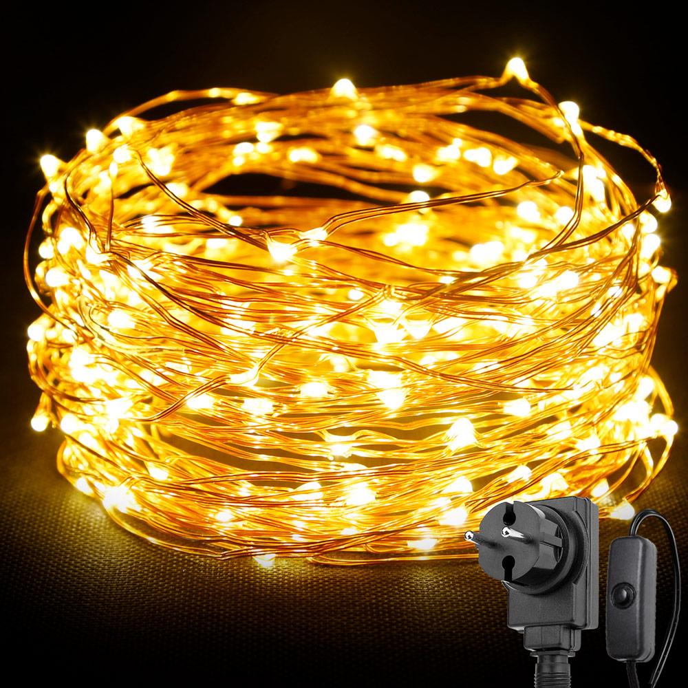 20M LED Kupferdraht Lichterkette mit Schalter, 200er LEDs, Wasserdicht Warmweiß, für Weihnachten Dekoration Party