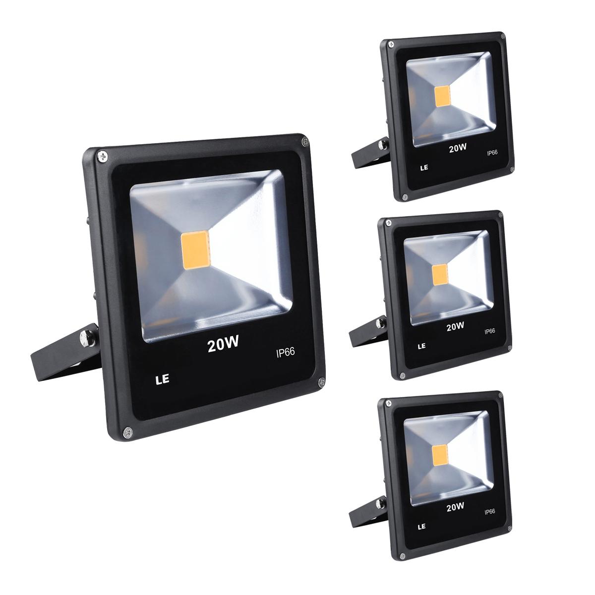 [Bündel] LED Fluter 20W, 1300lm Strahelr, IP66 Wasserdicht, ersetzt 200W Halogenlampe, Warmweiß, 3er Set