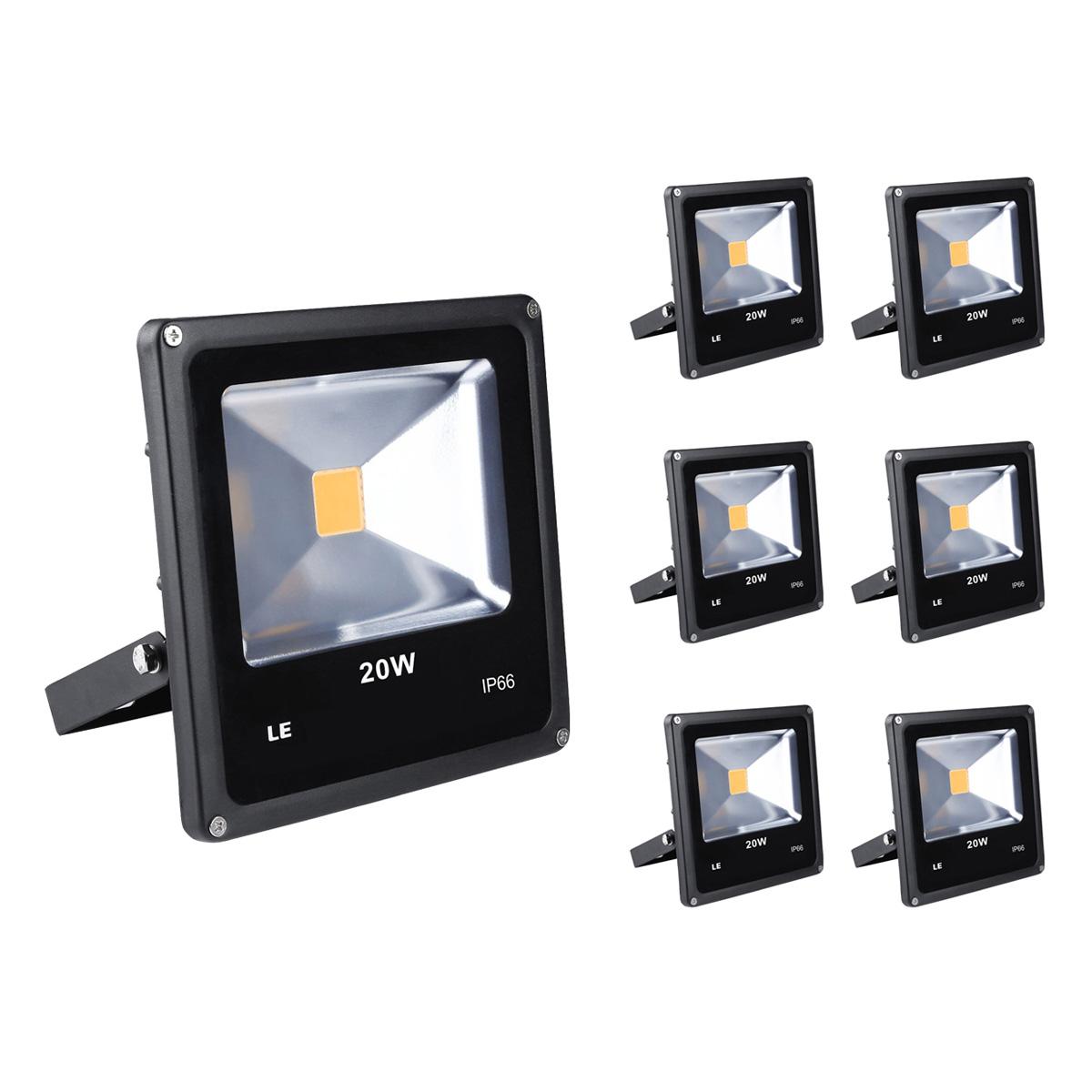 [Bündel] LED Fluter 20W, 1300lm Strahelr, IP66 Wasserdicht LED Flutlicht, ersetzt 200W Halogenlampe, Warmweiß, 6er Set
