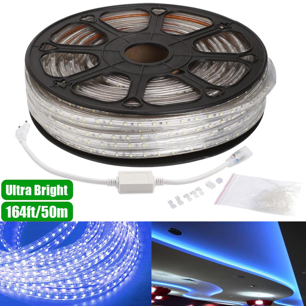 230V LED Bßnder Set, Blau, Wasserdicht, Superhell 3528 SMD LEDs, 50 M Indirekte Beleuchtung
