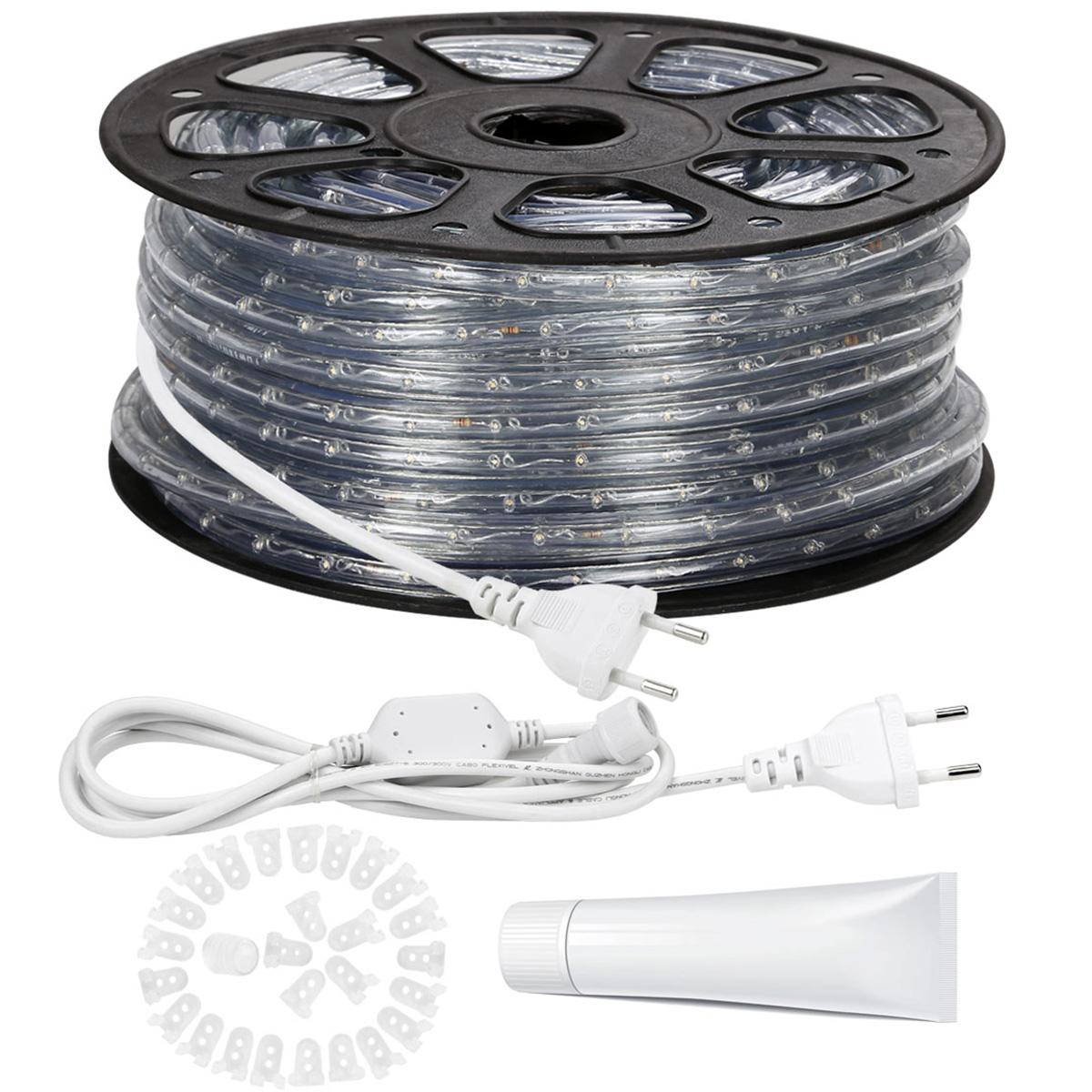 LED Lichtschlauch außen, 230V wasserdicht IP65,  46M Kaltweiß, PVC Schlauch Seil, Indirekte Beleuchtung