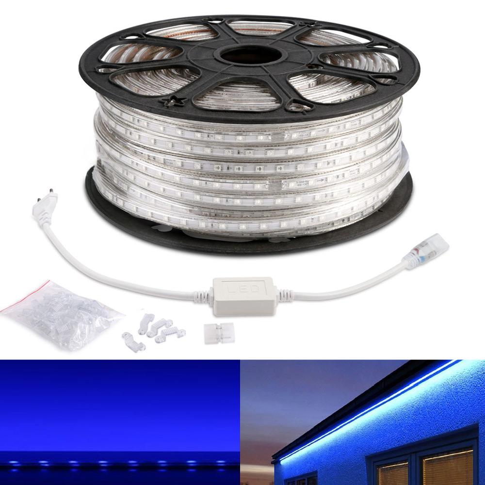 230V LED Strip Set, 5050 SMD, Blau, Wasserdicht, Indirekte Beleuchtung, 50 M