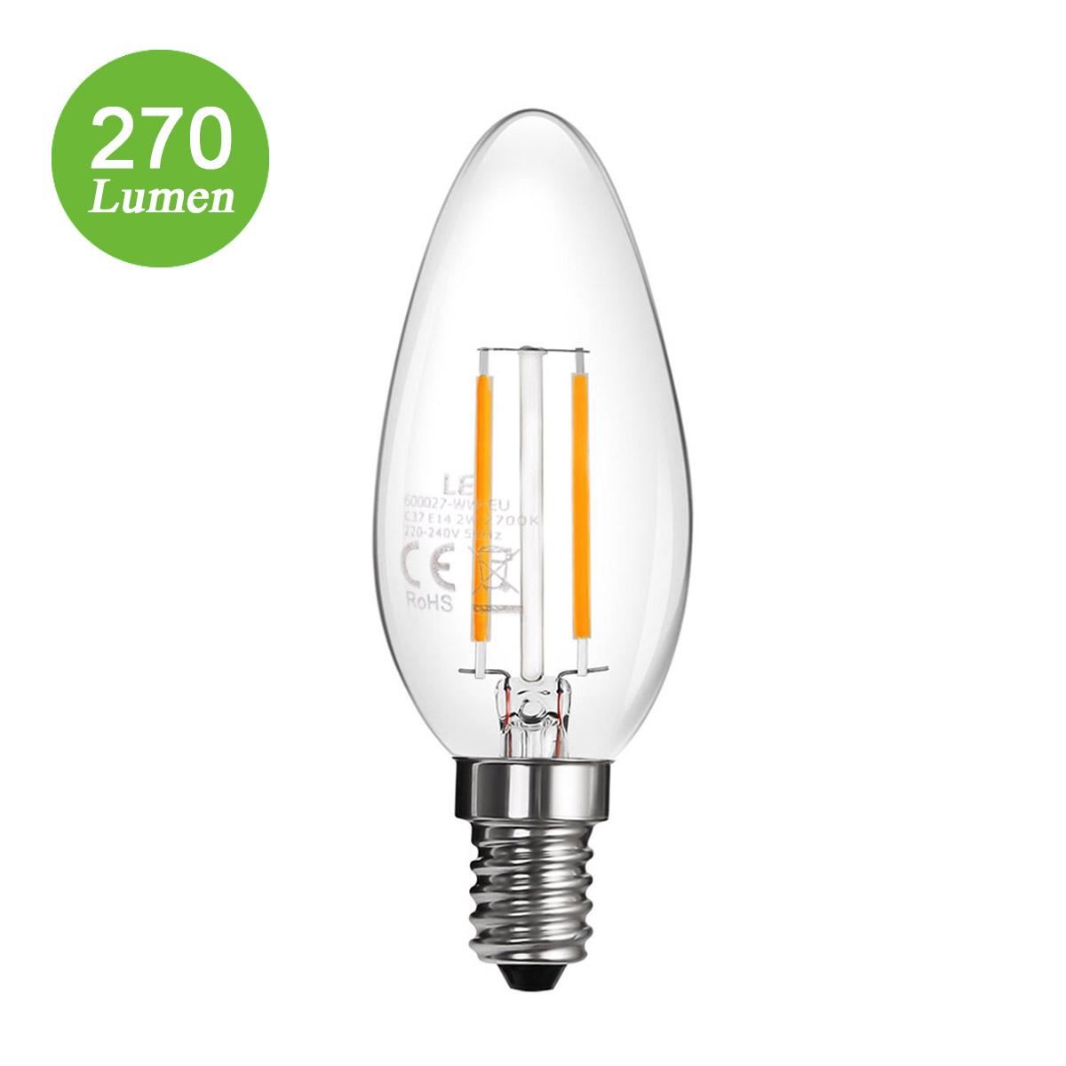 2W E14 LED Kerze mit Glühfaden, C37 270lm, 360° Abstrahlwinkel, ersetzt 25 Watt Glühlampe, Warmweiß