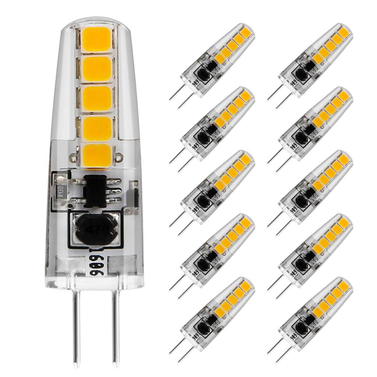 2W G4 LED Birnen, 210lm Leuchtmittel, 360°Abstrahlwinkel LED Lampen, ersetzt 20W Halogenlampen, 3000K Warmweiß, 10er Pack