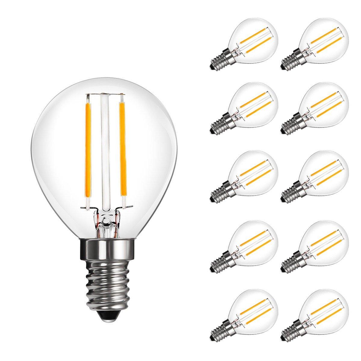 [Bündel] 2W LED P45 Birnen mit Glühfaden, 270lm, 360° Strahler, ersetzt 25W Glühlampe, Warmweiß, 10er Set