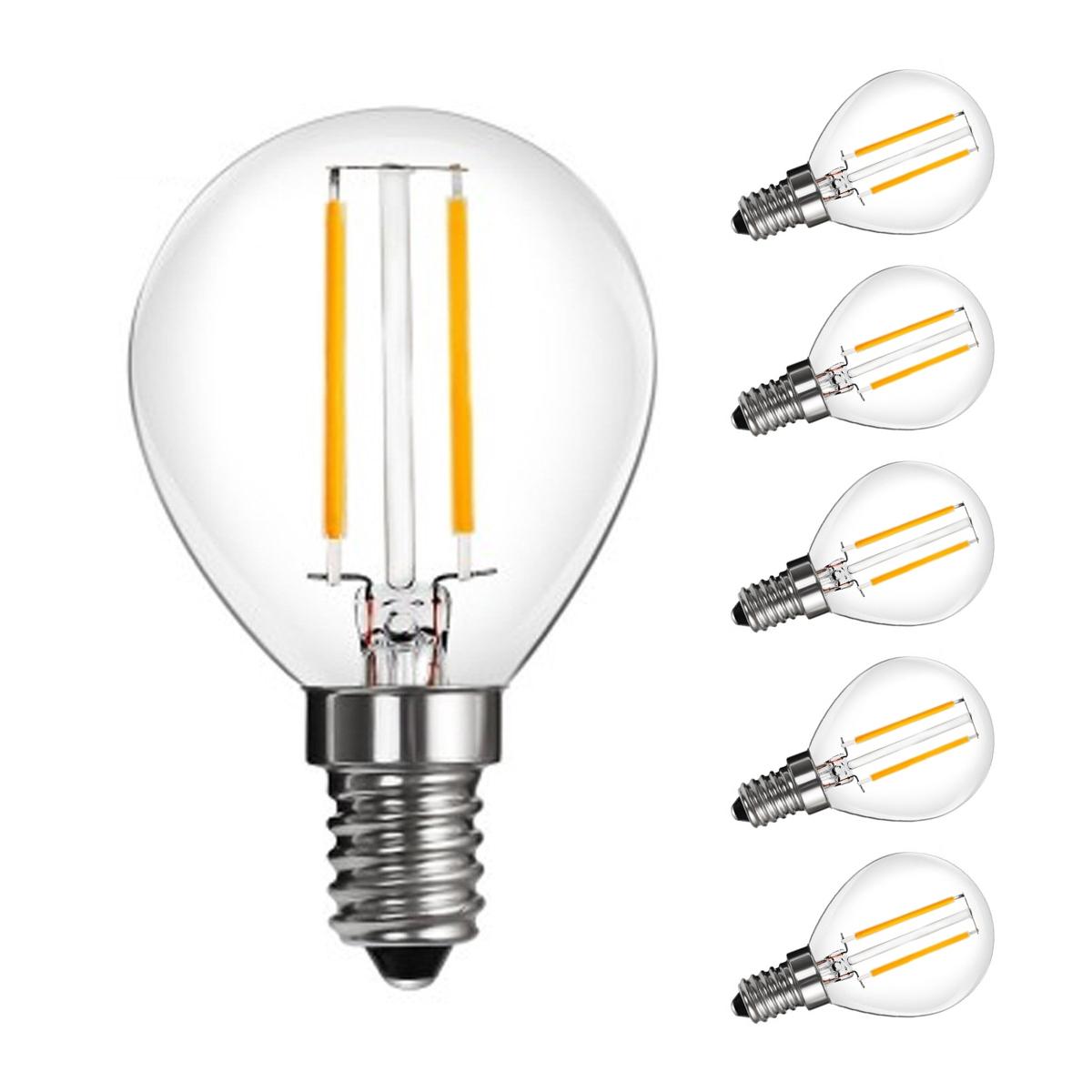 [Bündel] 2W LED P45 Birnen mit Glühfaden, 270lm, 360° Strahler, ersetzt 25W Glühlampe, Warmweiß, 5er Set