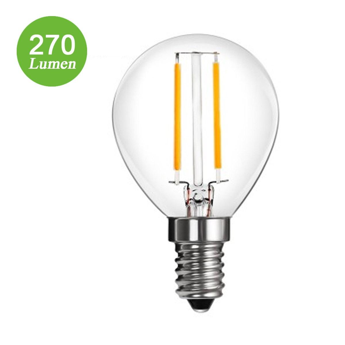 2W LED P45 Birnen mit Glühfaden, 270lm, 360° Strahler, ersetzt 25W Glühlampe, Warmweiß