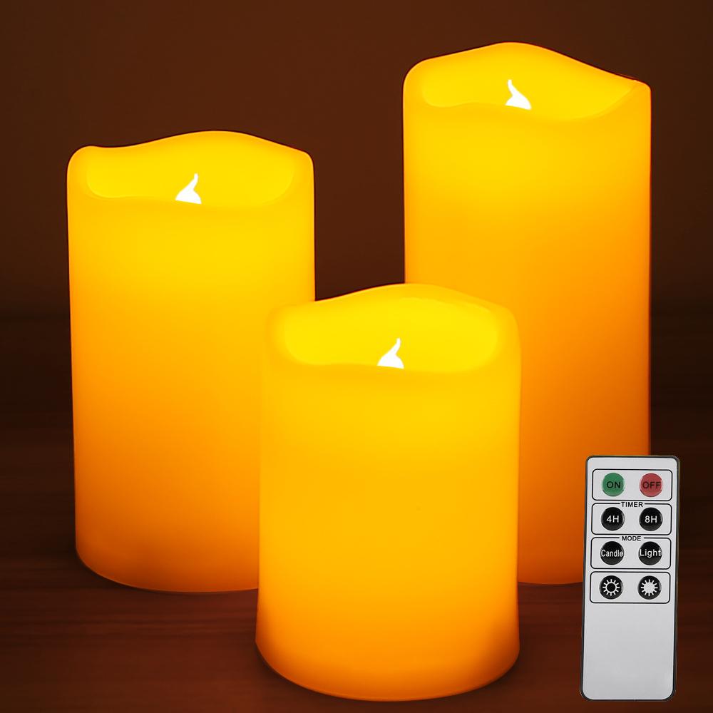 Gelb LED Flammenlose Kerzen 3er Set, Fernbedienung inkl., Timer, 2 Modi
