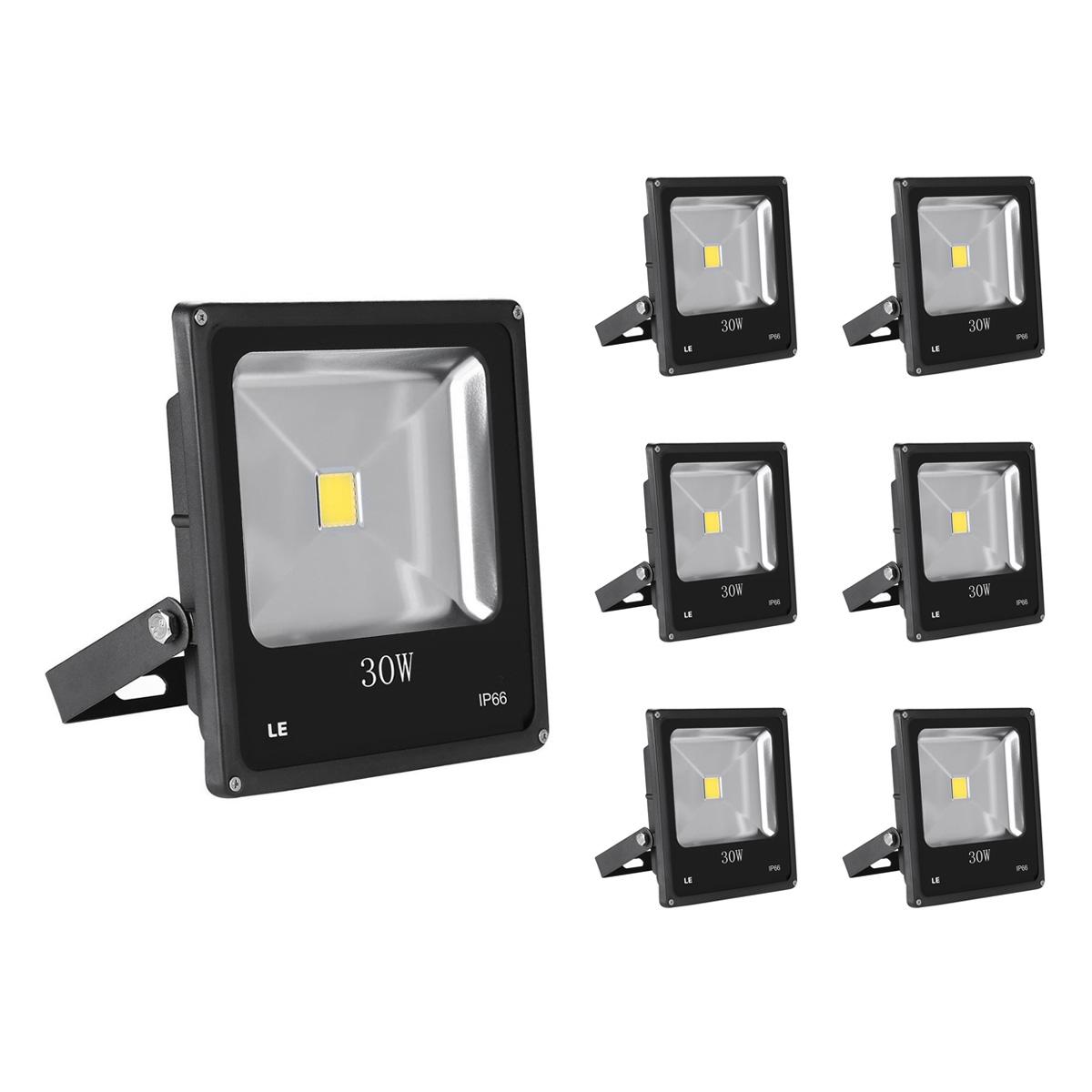 [Bündel] 30W LED Strahler, 2250lm Scheinwerfer, ersetzt 75W HS Lampe, Kaltweiß, Wasserdicht, Außenleuchten, 6er Set
