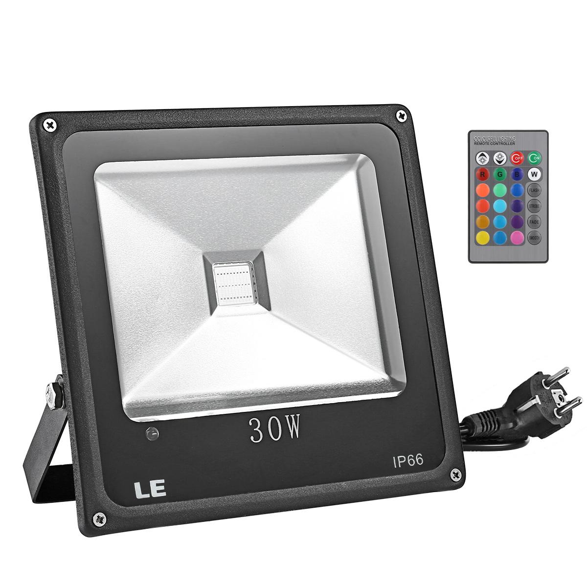30W LED RGB Strahler, fernbedient Fluter, 16 Farben & 4 Modi, Wasserdicht, Farbwechsel