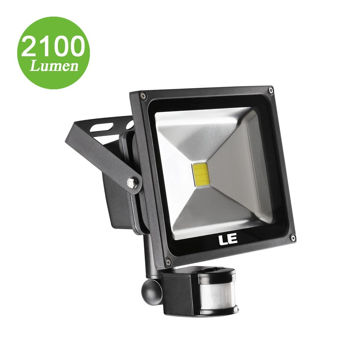 30W LED Strahler mit Bewegungsmelder, 2100lm Fluter, entspricht 75W HPS, Kaltweiß, Wasserdicht, Außerbeleuchtung