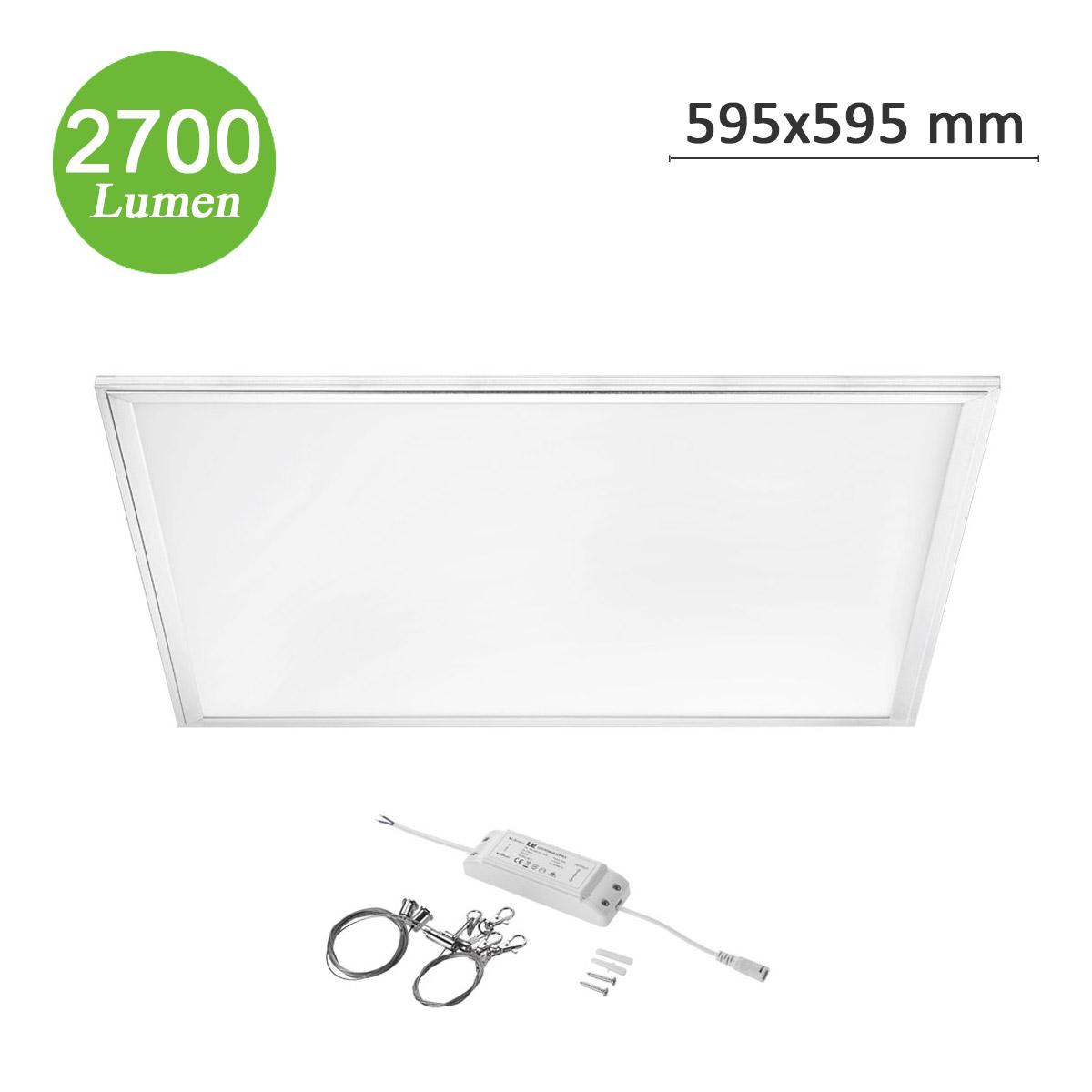 36W LED Panel, 595 x 595mm Warmweiß, Deckenleuchte Flach, 2700lm, Ersatz für 80W Leuchtstoffrßhren, Pendelleuchte / Decke Einbau