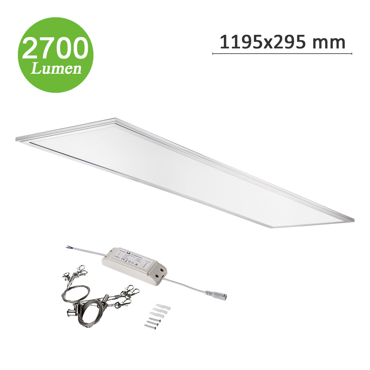 36W LED Panel, 295*1195mm, 2700lm Deckenleuchte, Entspricht 80W Leuchtstoffbirne, LED Panellampen mit Befestigungsmaterial, Neutralweiß