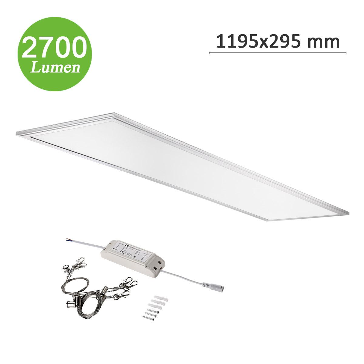 36W Flat LED Panel, 295*1195mm, 2700lm Deckenleuchte, Entspricht 80W Leuchtstoffbirne, Pendelleuchten, Warmweiß
