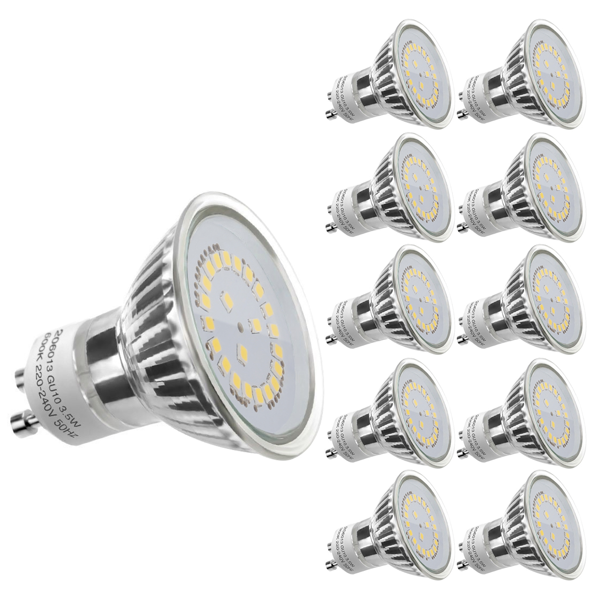 3,5W GU10 MR16 Lampe, 350lm LED Strahler, Ersatz für 50W Halogenlampe, nicht wasserfest Kaltweiß, 10er Set