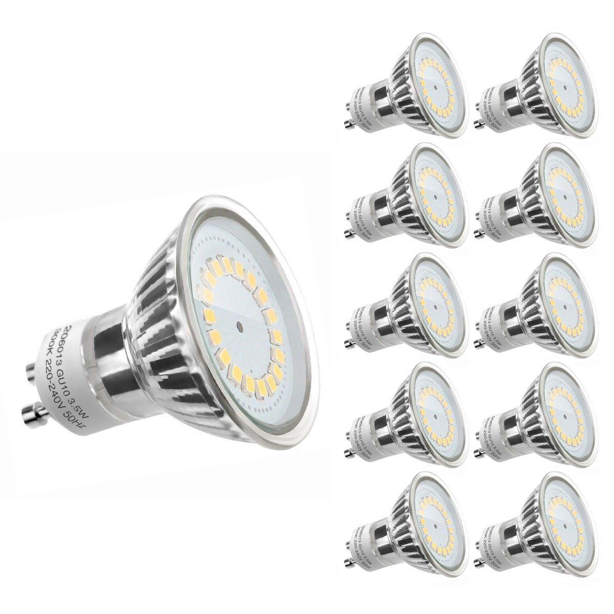 3,5W GU10 MR16 LED Spot, 350lm Leuchtmittel, Ersatz für 50W Halogen, Warmweiß, 10er Pack