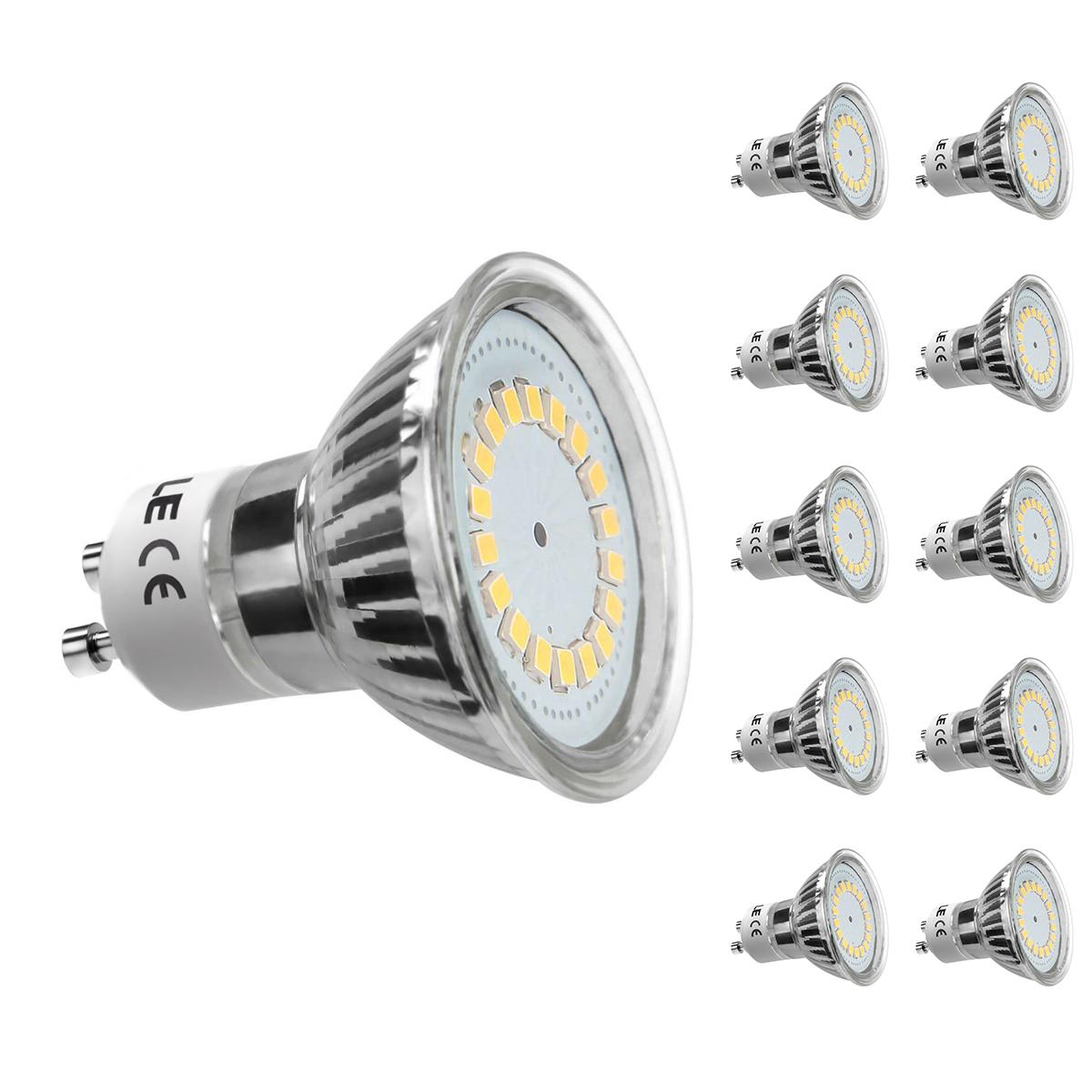 [Bündel] 3,5W GU10 MR16 LED Spot, 350lm Leuchtmittel, Ersatz für 50W Halogen, Warmweiß, 10er Set